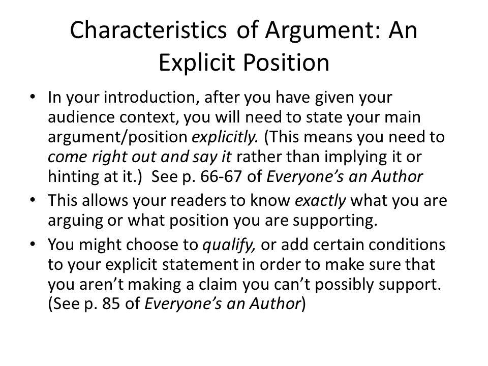 Characteristics of Argument: An Explicit Position