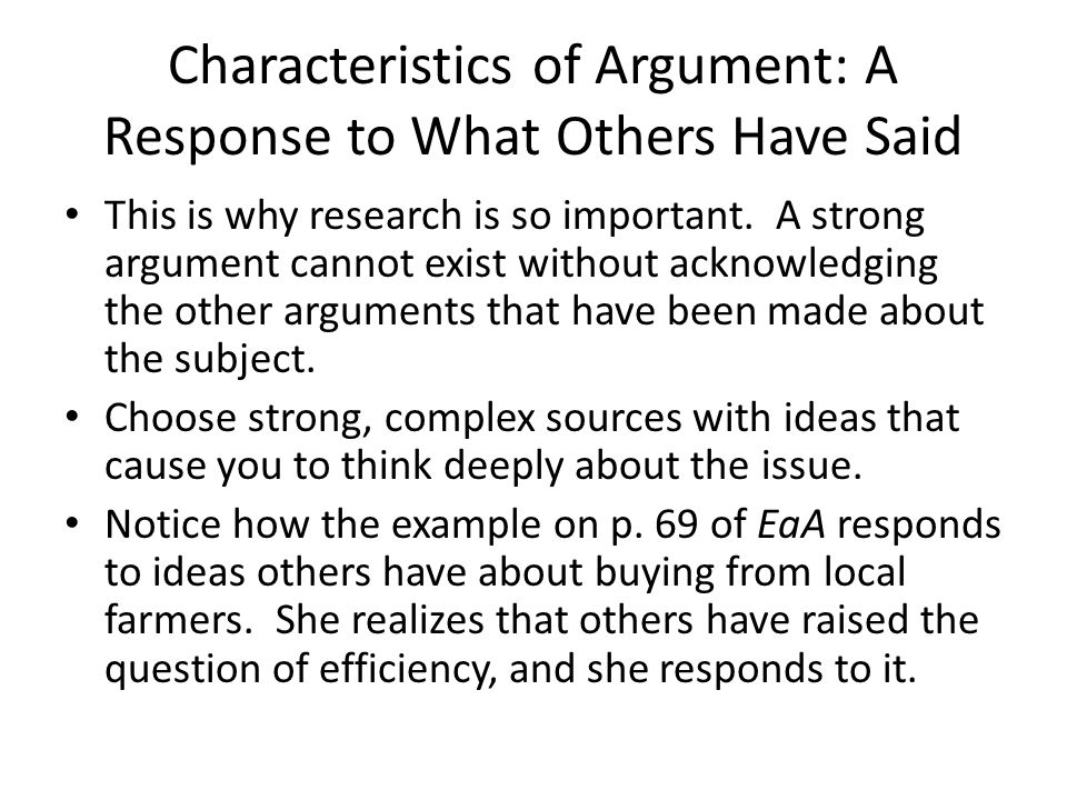 Characteristics of Argument: A Response to What Others Have Said
