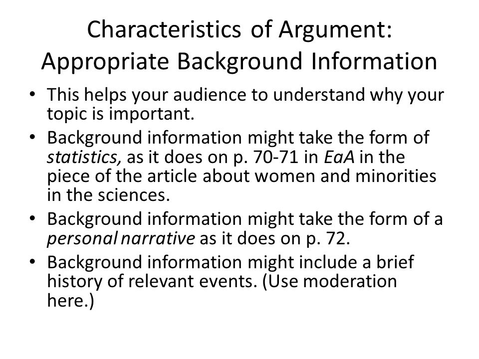 Characteristics of Argument: Appropriate Background Information