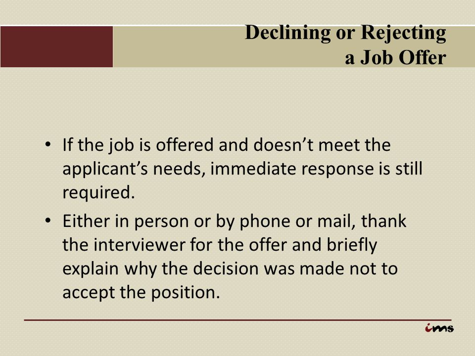 Declining or Rejecting a Job Offer