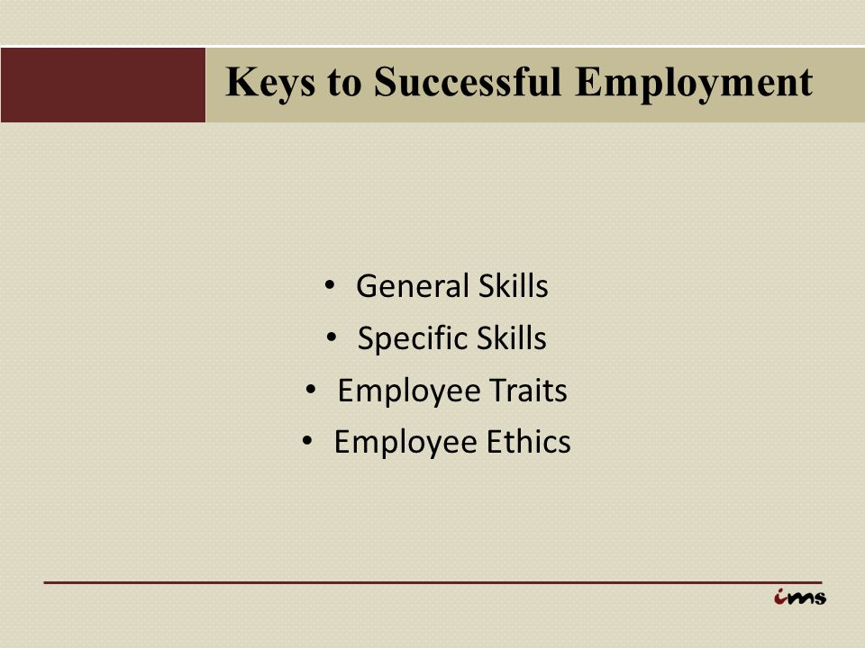 Keys to Successful Employment