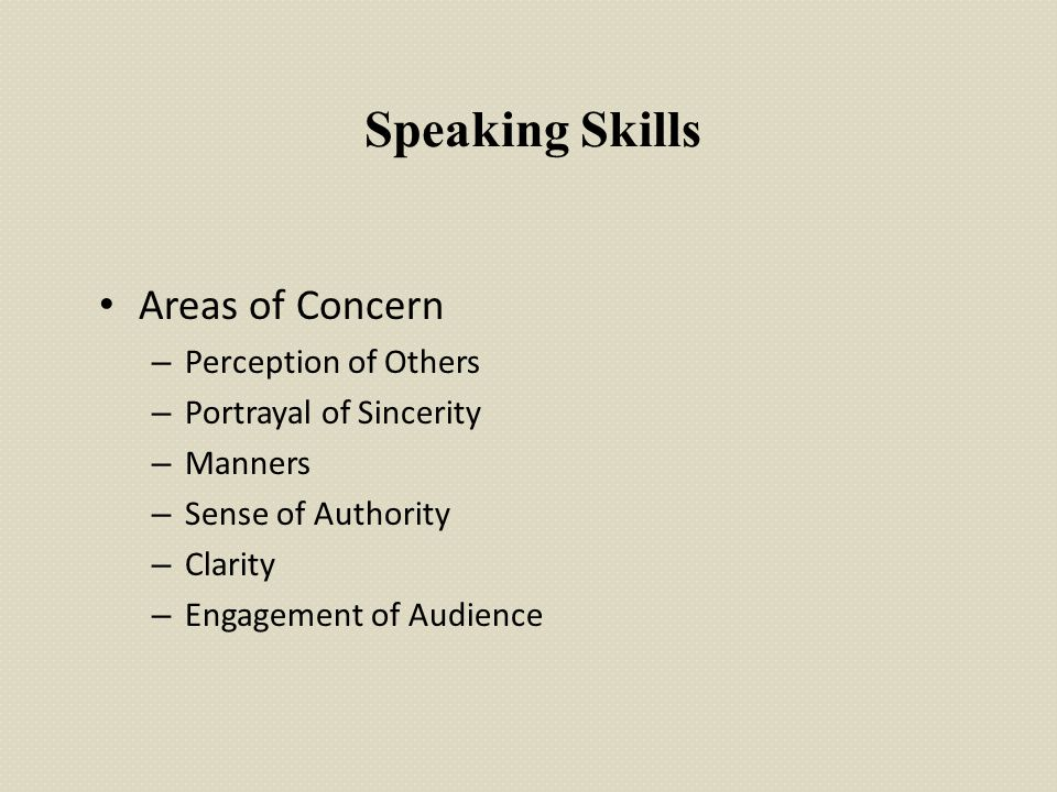 Speaking Skills Areas of Concern Perception of Others