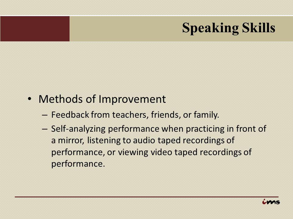 Speaking Skills Methods of Improvement