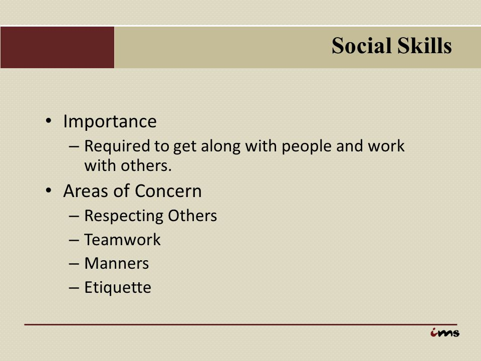 Social Skills Importance Areas of Concern