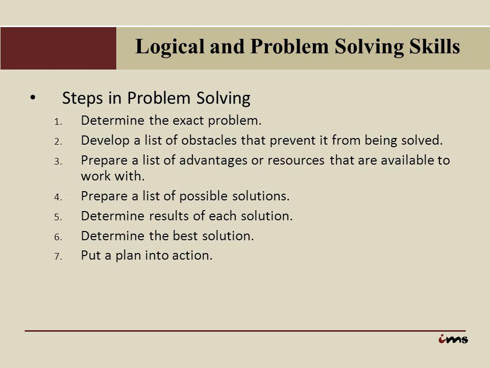 Logical and Problem Solving Skills