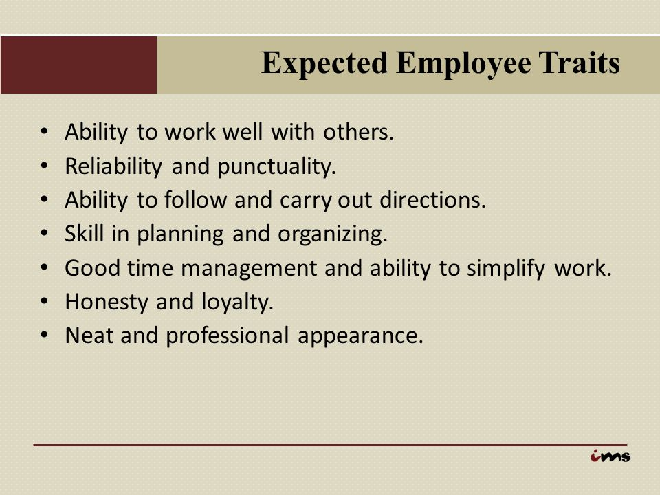 Expected Employee Traits