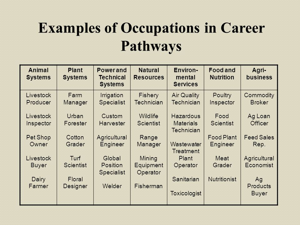 Examples of Occupations in Career Pathways