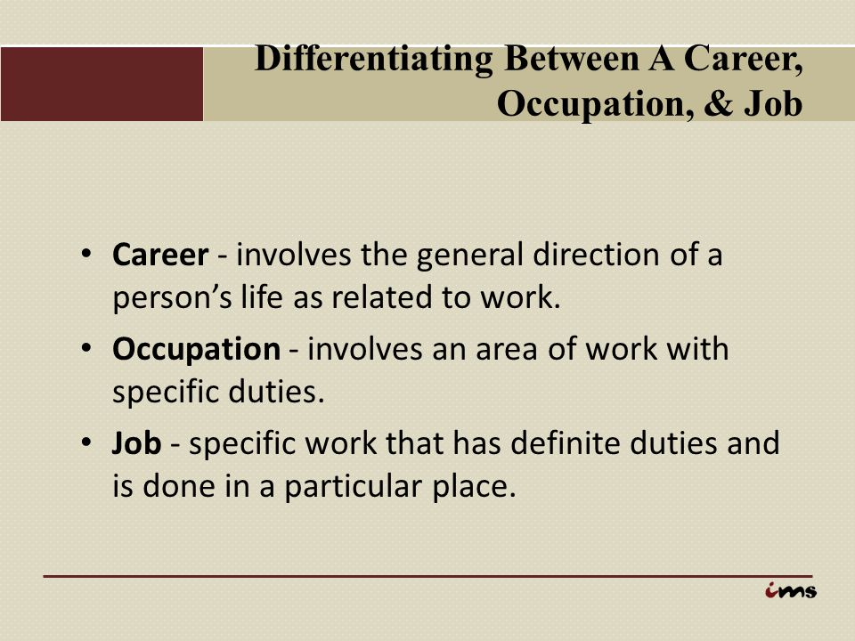Differentiating Between A Career, Occupation, & Job