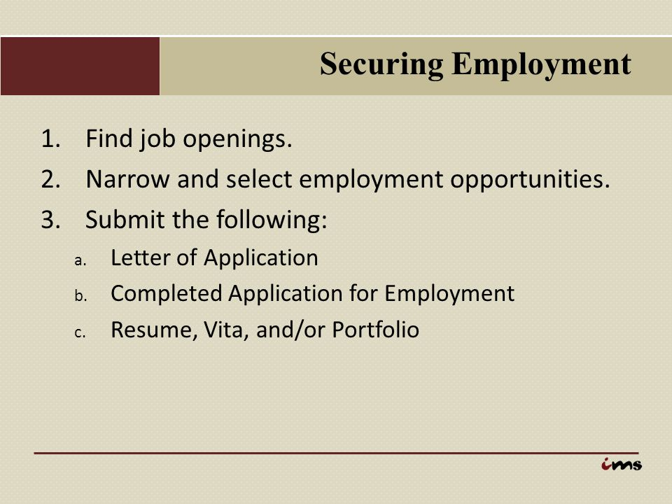 Securing Employment Find job openings.
