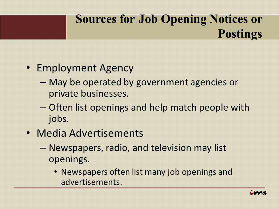 Sources for Job Opening Notices or Postings
