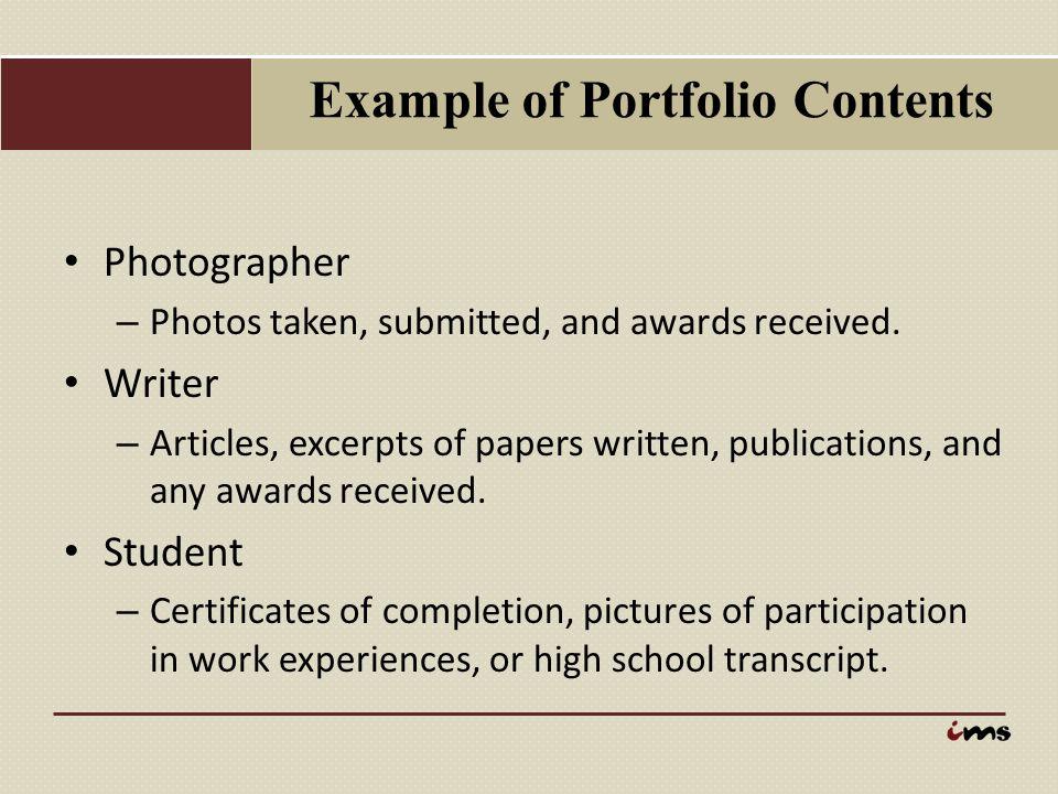 Example of Portfolio Contents