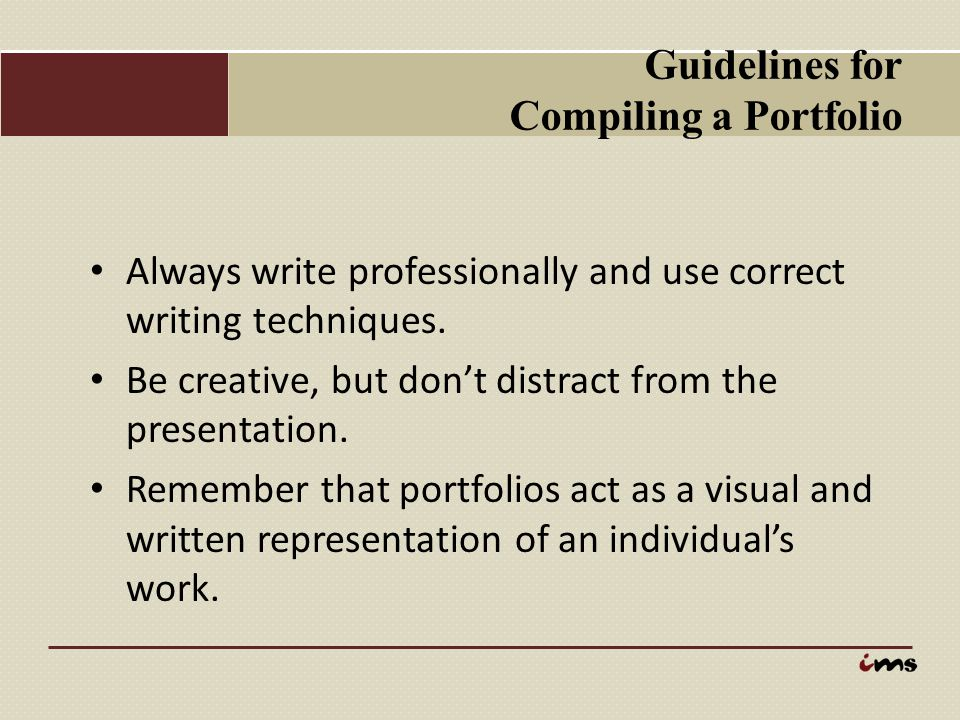 Guidelines for Compiling a Portfolio