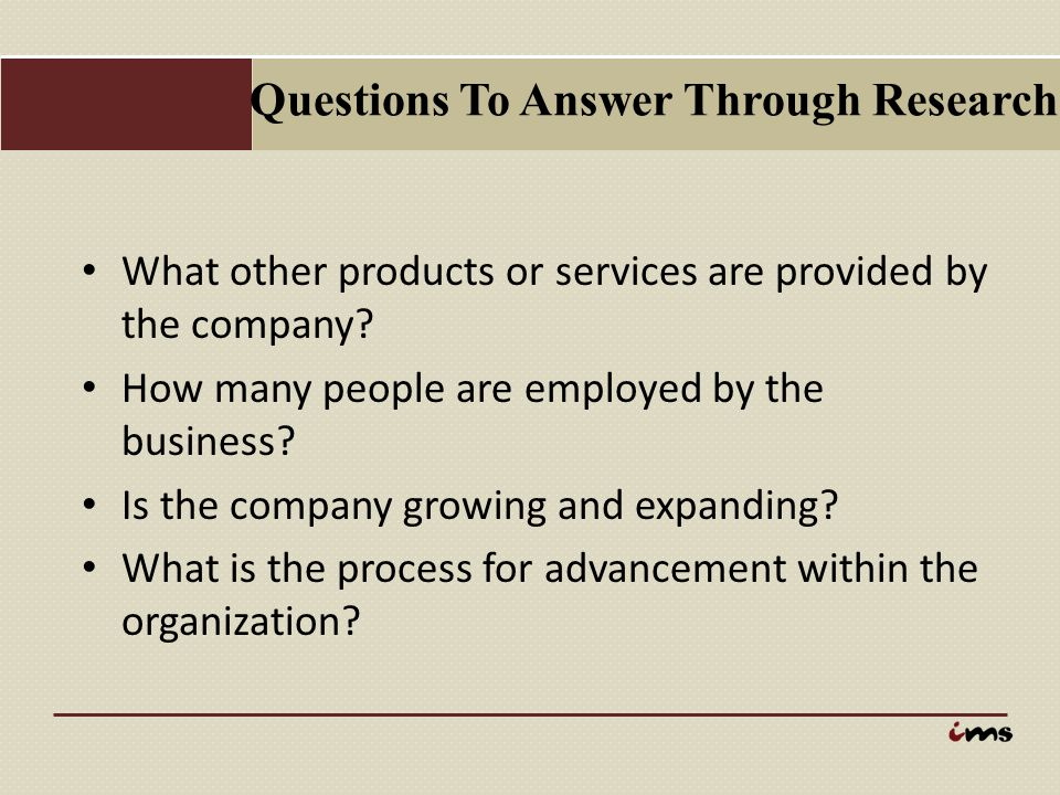 Questions To Answer Through Research
