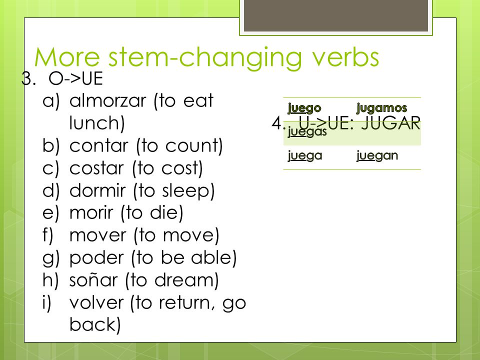 More stem-changing verbs