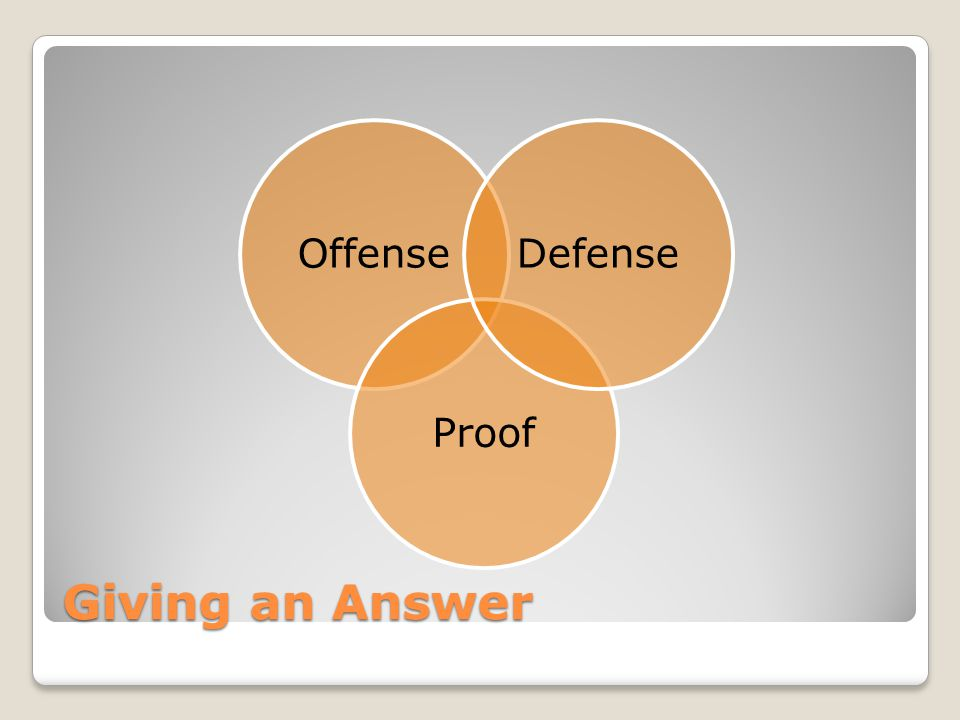 Offense Proof Defense Giving an Answer