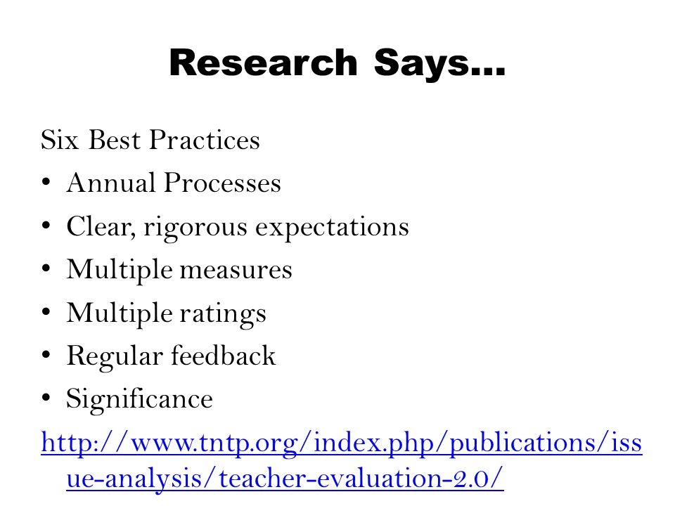 Research Says… Six Best Practices Annual Processes