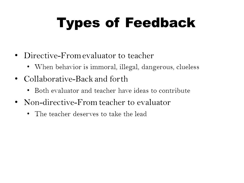 Types of Feedback Directive-From evaluator to teacher