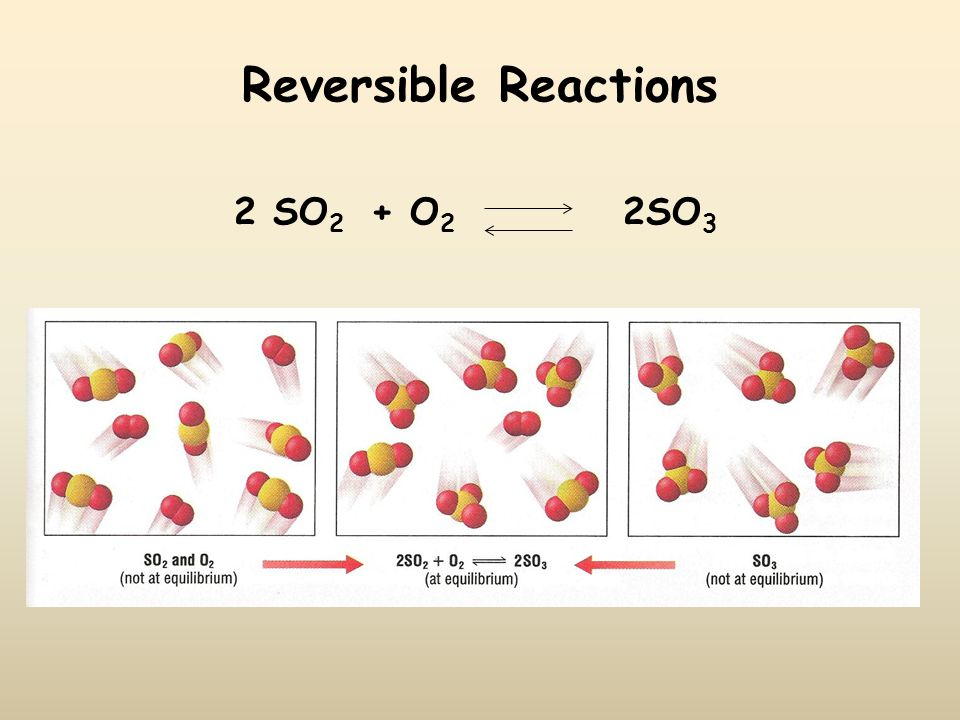 Reversible Reactions 2 SO2 + O2 2SO3