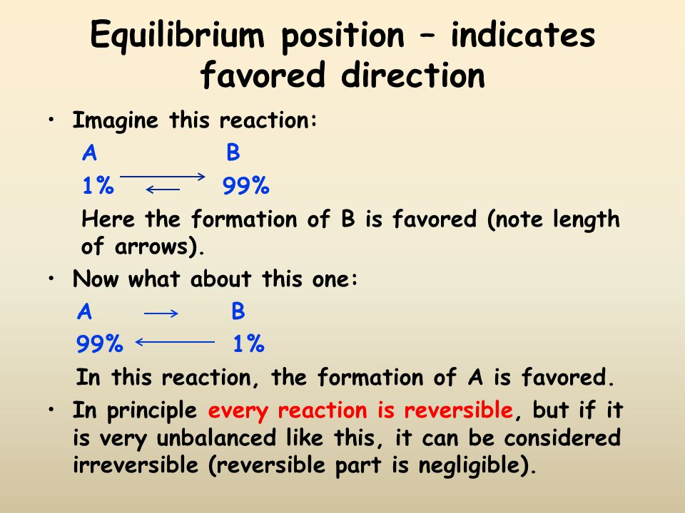 Equilibrium position – indicates favored direction