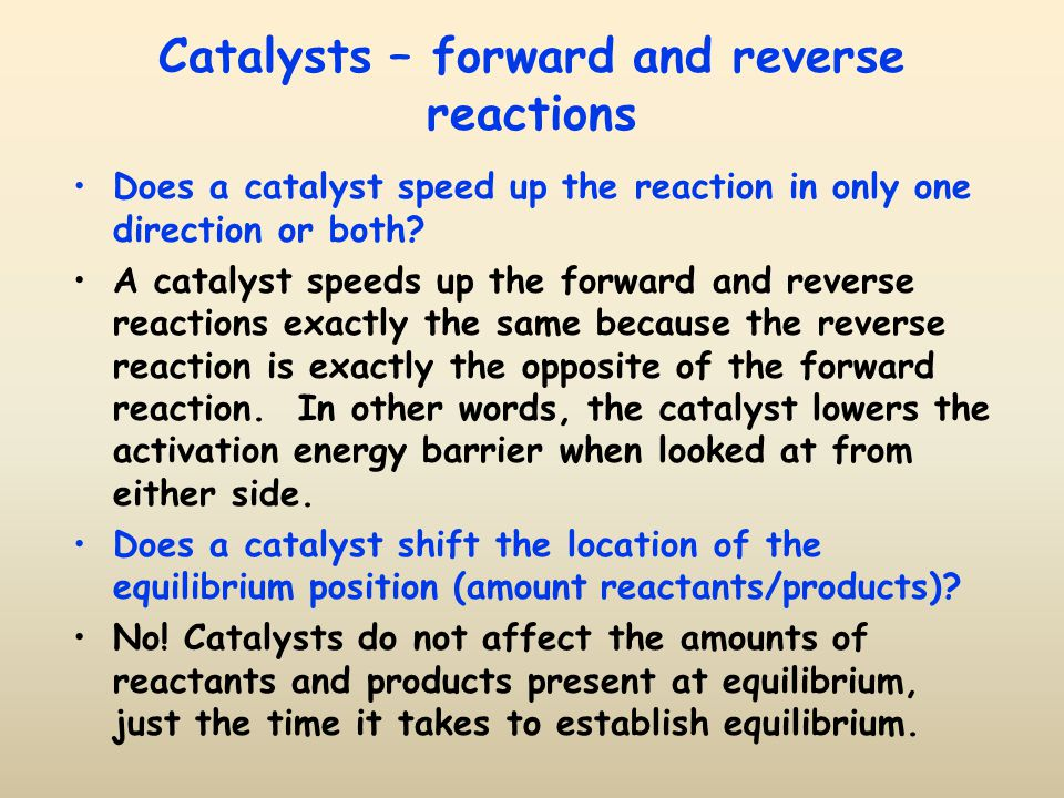 Catalysts – forward and reverse reactions
