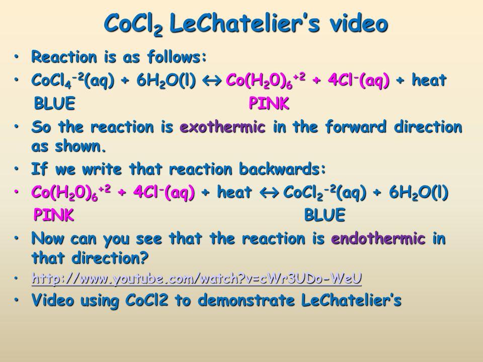 CoCl2 LeChatelier's video