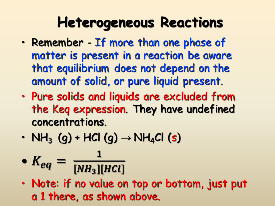 Heterogeneous Reactions