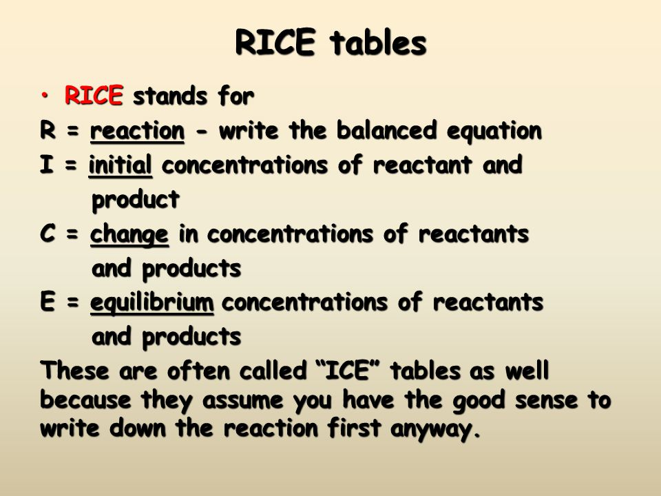 RICE tables RICE stands for R = reaction - write the balanced equation