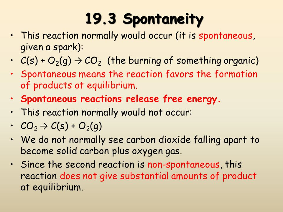 19.3 Spontaneity This reaction normally would occur (it is spontaneous, given a spark): C(s) + O2(g) → CO2 (the burning of something organic)