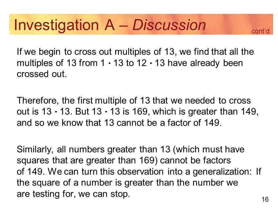 Investigation A – Discussion