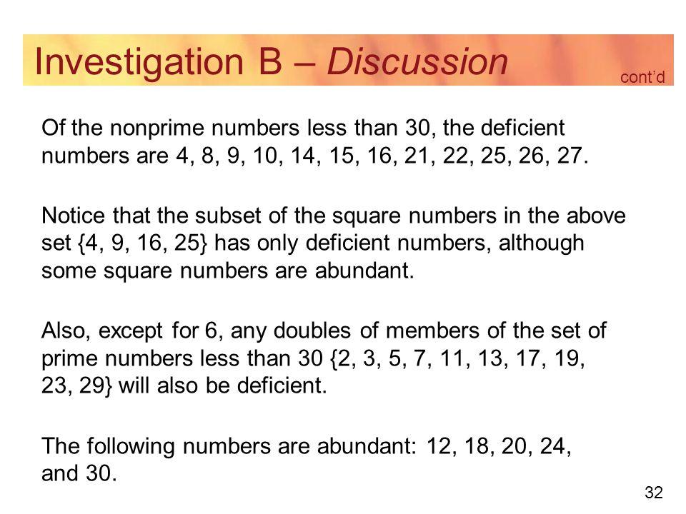 Investigation B – Discussion