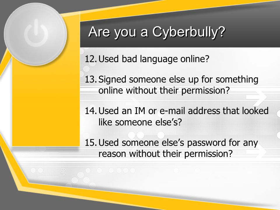 Are you a Cyberbully Used bad language online