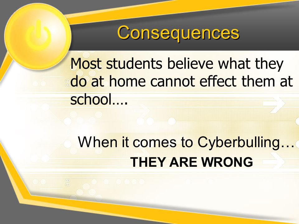 Consequences Most students believe what they do at home cannot effect them at school…. When it comes to Cyberbulling…