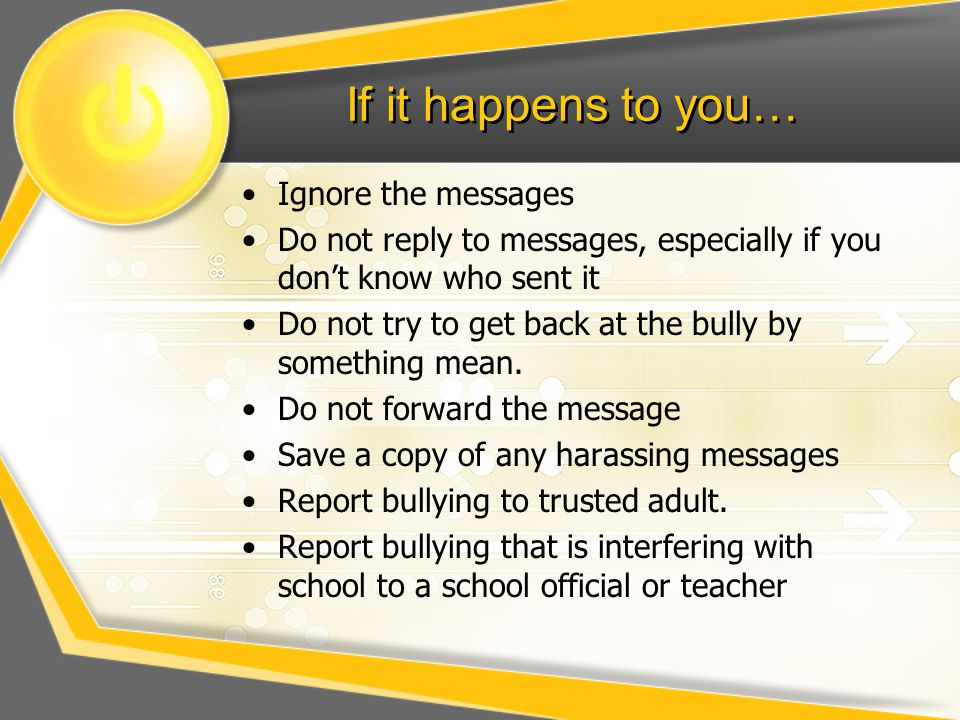 If it happens to you… Ignore the messages