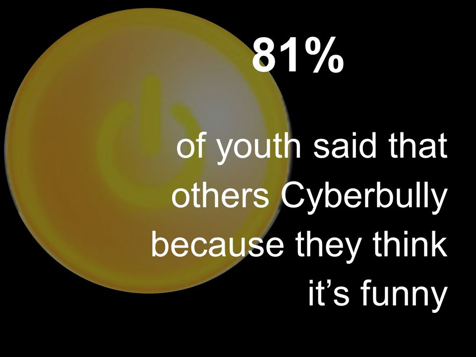 81% of youth said that others Cyberbully because they think it's funny