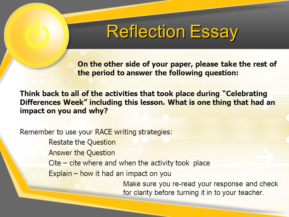 Reflection Essay On the other side of your paper, please take the rest of the period to answer the following question: