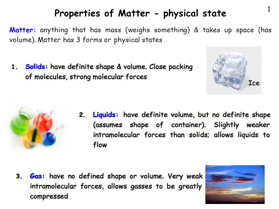 Properties of Matter - physical state
