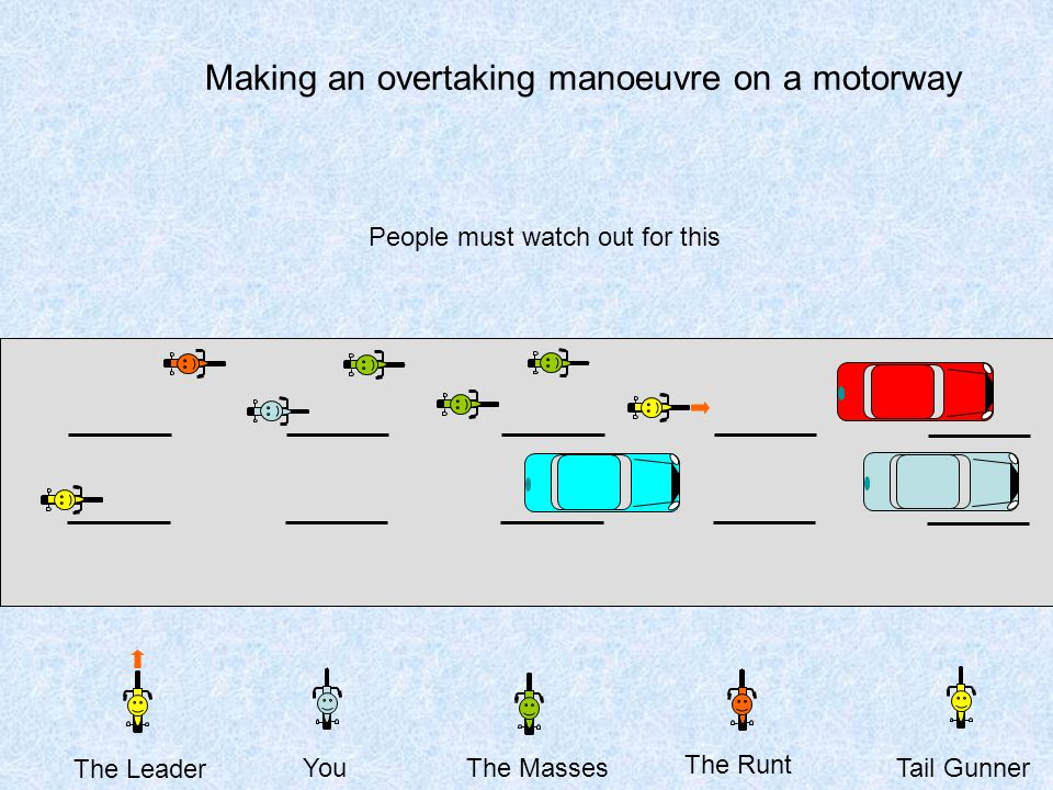 Making an overtaking manoeuvre on a motorway