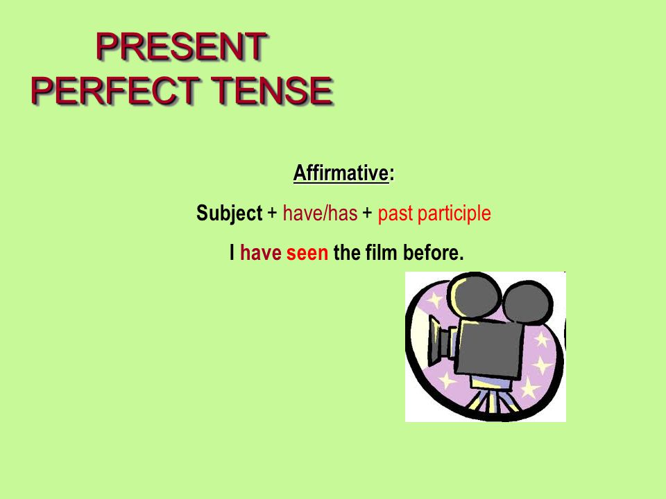 PRESENT PERFECT TENSE Affirmative: