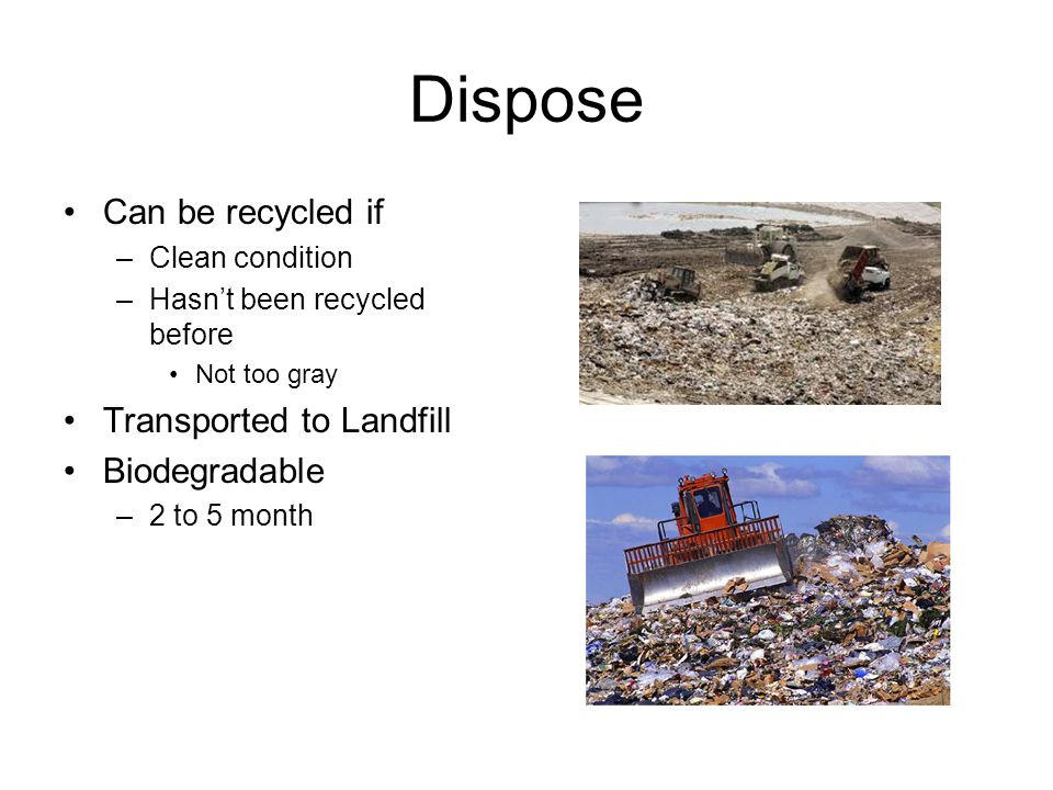 Dispose Can be recycled if Transported to Landfill Biodegradable