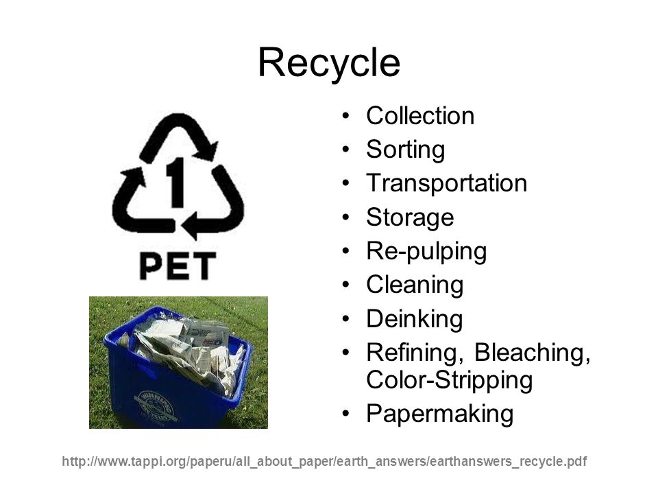 Recycle Collection Sorting Transportation Storage Re-pulping Cleaning