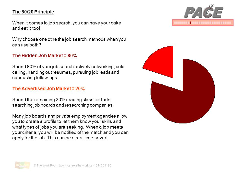 PACE The 80/20 Principle. When it comes to job search, you can have your cake and eat it too!