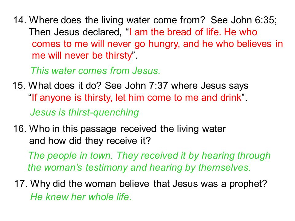 14. Where does the living water come from See John 6:35;