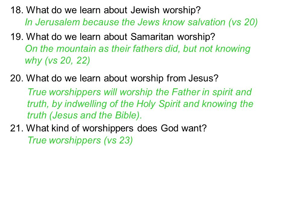 18. What do we learn about Jewish worship