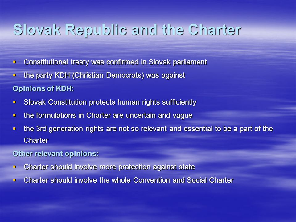Slovak Republic and the Charter