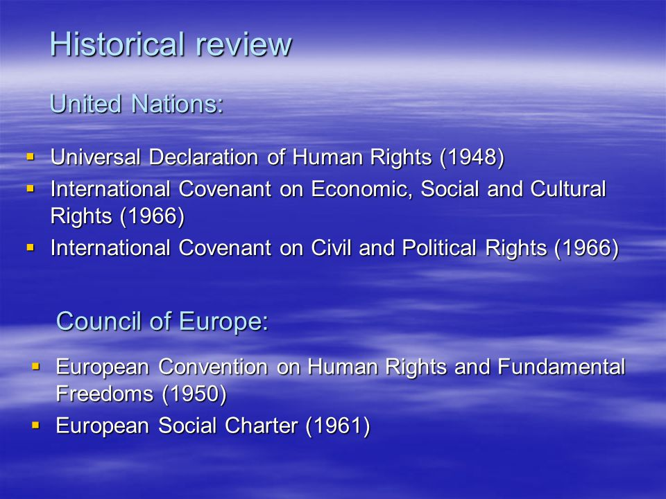 Historical review United Nations:
