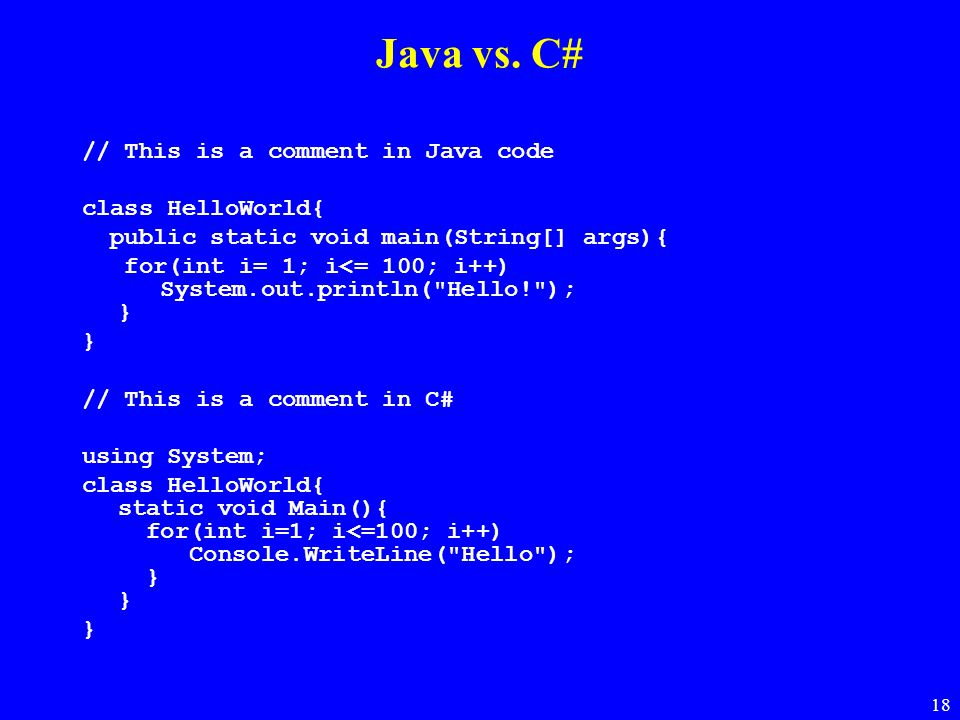 Java vs. C# // This is a comment in Java code class HelloWorld{