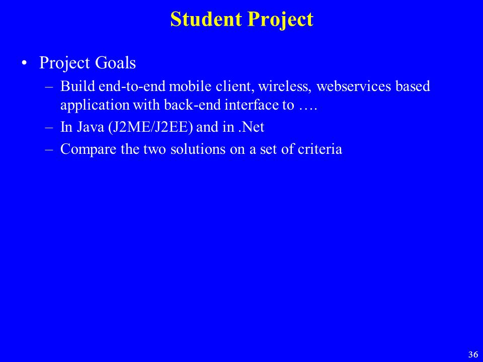 Student Project Project Goals