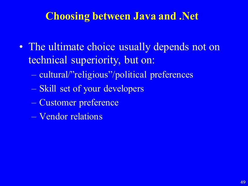 Choosing between Java and .Net