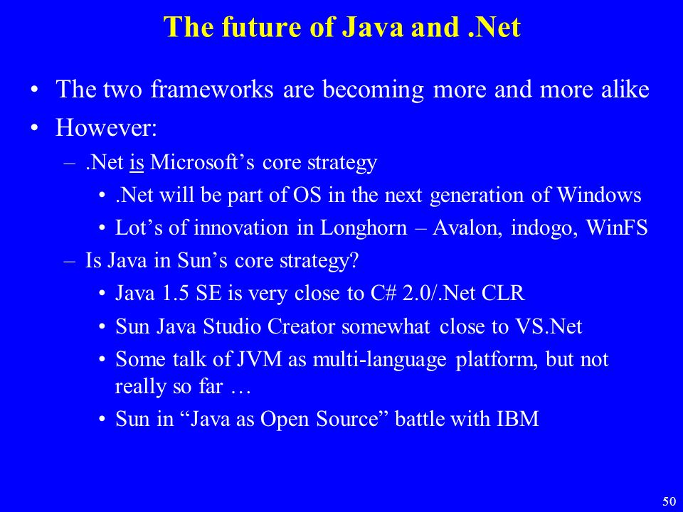 The future of Java and .Net
