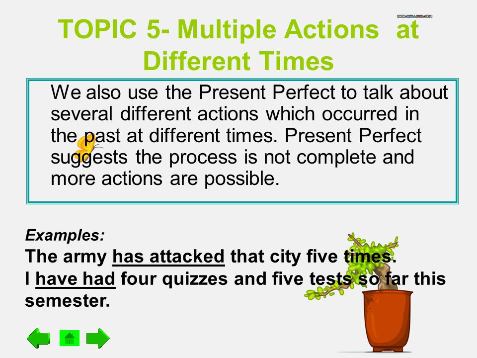 TOPIC 5- Multiple Actions at Different Times